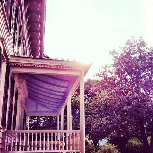 Lovely Southern porches in the hours before sunset in the summer = a little intro to perfect peace. #iheartthesouth #alabama #southern #frontporch #sunset #peace  (Taken with Instagram)