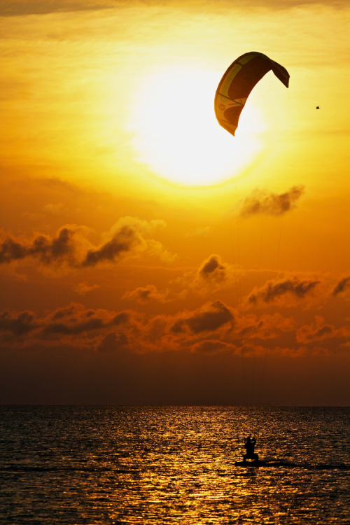 """Kiteboarding Into the Sunset"" by Zach Dischner:)"