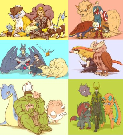 insanelygaming:  Avengers as Pokemon Trainers