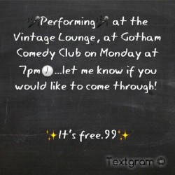 Come laugh at all my bad jokes in Manhattan on Monday! Ask for details if you want to come by…  (Taken with Instagram)