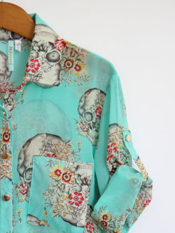 MICKEY'S GIRL- Skulls and Flowers Turquoise Blouse
