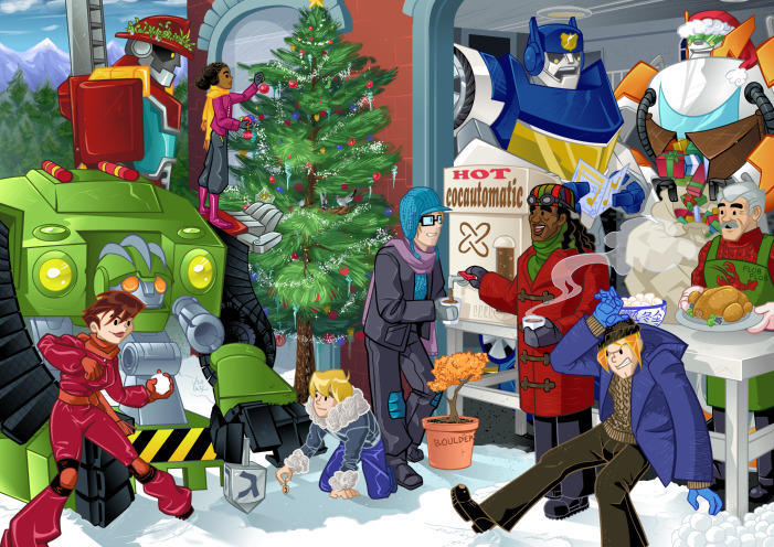 Rescuebots Christmas card commission. This one took me a lot of time!
