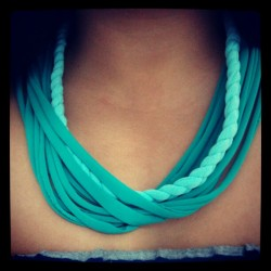 1st attempt in doing a fabric necklace, not bad =) getting there!!! =) (Taken with Instagram)