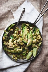 Brussel Sprouts & Avocado Salad, a Highgarden delicacy with the main ingredients imported from lands outside The Reach: Brussel Sprouts from the Neck and Avocados from Dorne