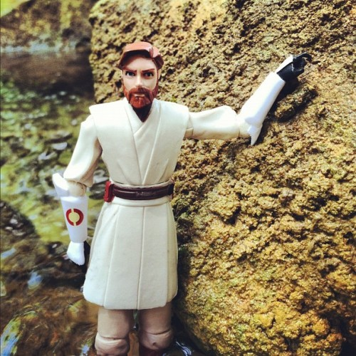 Obi-Wan at the park. #starwars #obiwankenobi #actionfigures (Taken with Instagram)