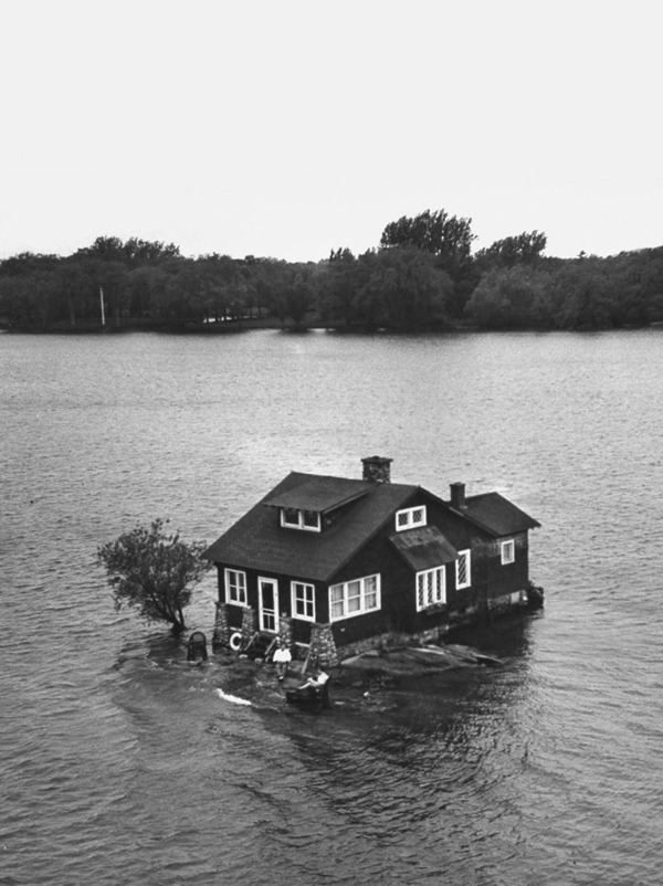 "cruello:  ""Just Room Enough"" Island, one of Thousand Islands in St. Lawrence River. NY, 1954  Photo: Peter Stackpole"