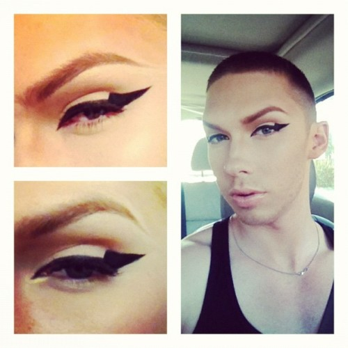 Bat-wing liner in honor of Batman this weekend! #batman #wing #Liner #mac #maccosmetics #ilovemaciggirls #ilovemacigboys #gay #gayboy #miles #painted #FW2012trend #architect (Taken with Instagram at MAC Cosmetics)