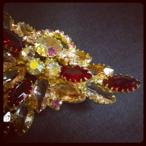 Triangle brooch #bling, #splarkles, #sparkling, #vintage, #brooch (Taken with Instagram)