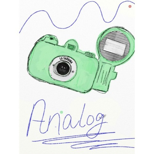 Analog Girl Navigating A Digital World.  La Sardina analog camera is on my wish list. They have a d.i.y. design yourself balank canvas edition, swoon.  My own digital sketch and watercolor done on the Ipad.