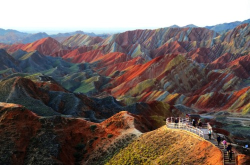 inspirezme:  Looks fake doesn't it? These colorfully striped mountains are, in fact, real. Make your way to the Gansu Province of China and you'll witness an amazing sight. The Zhangye Danxia Landform
