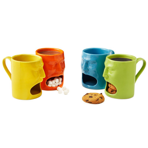 orientaltiger:  Warm or Cool Face Mugs hold a snack on the bottom and a drink on the top.