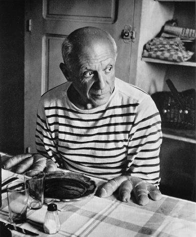 Picasso, playing with his food. Just because. Via TwistedSifter