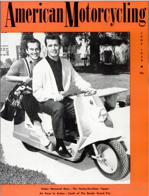 American Motorcycling, June 1959On the cover: Jack Kelly and James Garner of Maverick See some classic James Garner photographs at Boom Underground, who is posting them as part of a month-long series on Hunks We Were Hot For, a look at male heart-throbs from the 1960s & 70s (and a few from the 50s!).