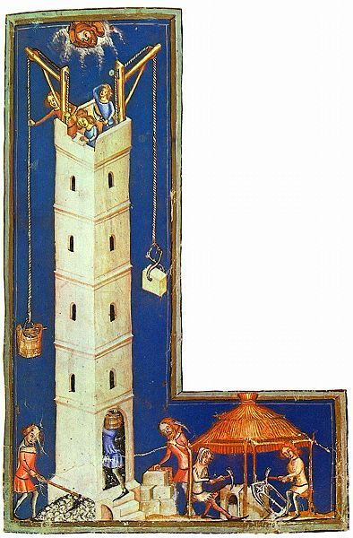 German Late Medieval (ca. 1370s) depiction of the construction of the Tower of Babel