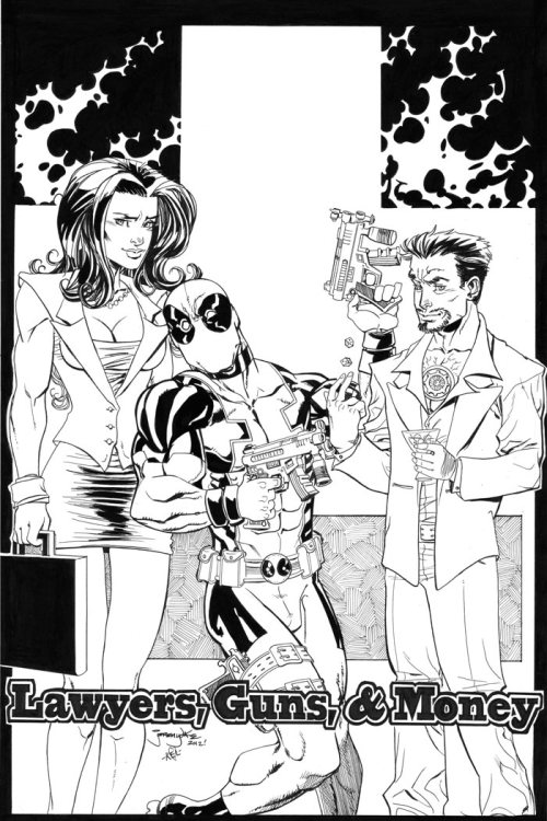 jeremydale:  Lawyers, Guns & Money commission(w/ She-Hulk, Deadpool, and Tony Stark) by Jeremy Dale  And now I have Warren Zevon stuck in my head. Not that this is a bad thing, mind you.