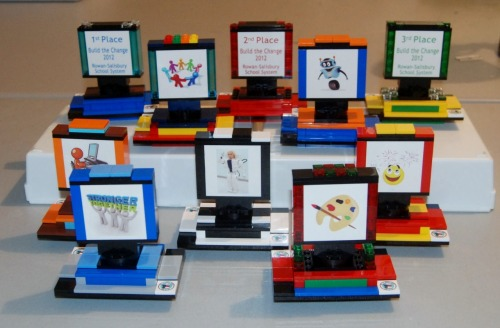 Trophies that we did for a FLL competition for Rowan-Salisbury Schools in North Carolina. Congrats to all the winners!