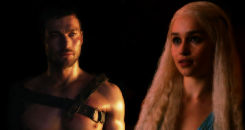 Spartacus and Daenerys staring at each other.