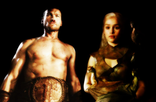 Spartacus and Daenerys with her dragons.