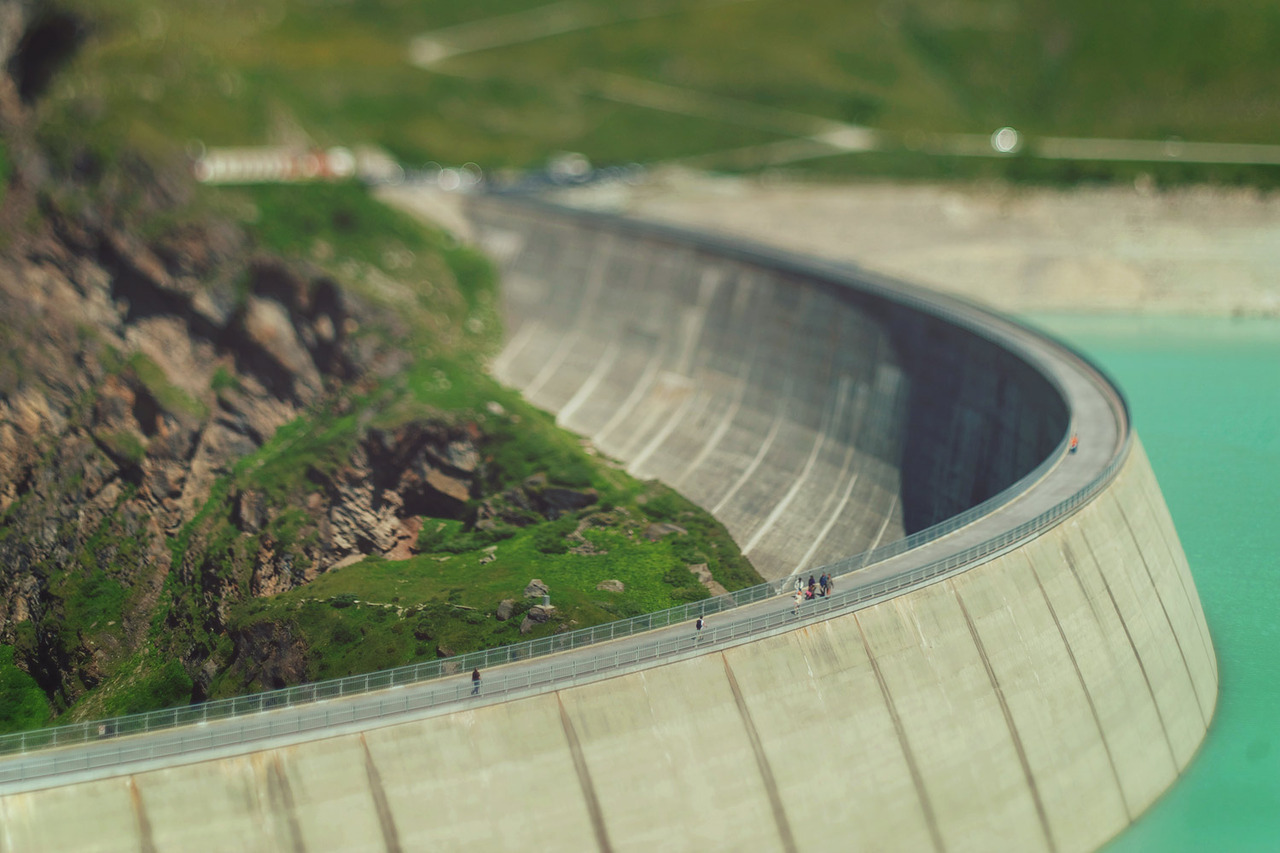 Small Moiry dam in the Swiss Alps. Shot with a tilt-shift lens.