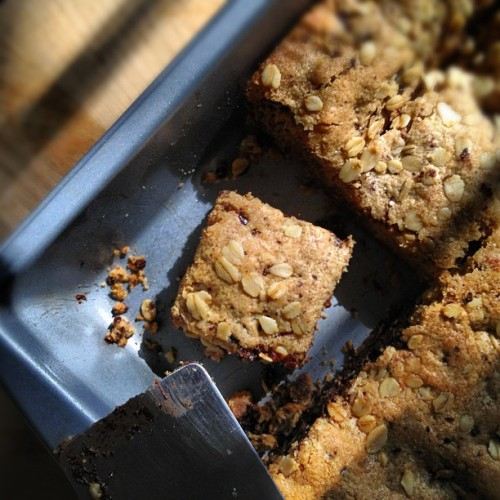 thanksforsharing:  Oatmeal peanut butter bars, with chocolate, which I made while jamming to Luther Vandross. Today is a great day for food. (Taken with Instagram)