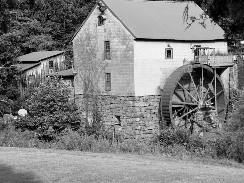 """B & W Old Red Mill"" in North Carolina. Click to buy as cards, postcards, matted, prints, framed artwork or canvas on Redbubble."