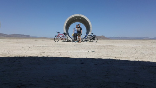 nancy holt's sun tunnels, near pigeon, ut.  got lost, ended up doing about 10miles in the broiling midday heat, punctuated by a series of about 10 panic-inducing and ear-bursting military flyovers complete with sonic boom.