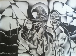 """Sons Indian Gothic"" 30x22 Graphite on paper By: Cheyenne Randall"