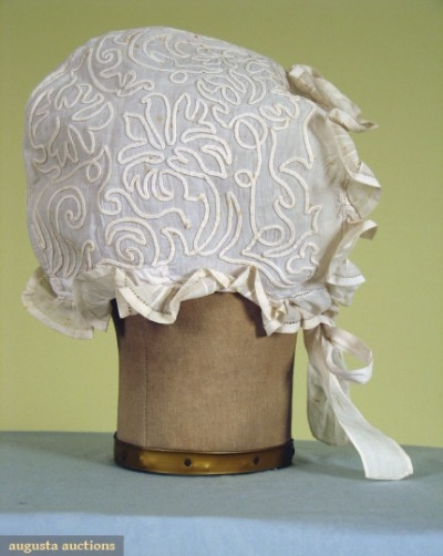Linen soutache-trimmed cap, Tasha Tudor Collection, 1860-75