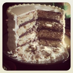 Almond toffee cake with chocolate ganache filling (Taken with Instagram)