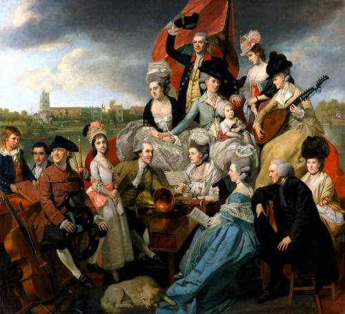 "a-l-ancien-regime:  Johan Zoffany, ""The Sharp Family,"" 1779–81, oil on canvas The Sharp Family, afloat on a barge called Apollo with Fulham Old Church in the distance, is so exuberant as to be barely credible. It is a pyramid, a heap of humanity, each subject beautifully and elaborately dressed and exhibiting a solemn concentration on the music to come. Horns, harpsichord and cello are all at hand ready to be brought into play, and the scene is further enlivened by a baby holding a remarkably calm kitten. Zoffany excelled at the group portrait, the conversation piece.  By Courtesy of the National Portrait Gallery, London, and the Lloyd-Baker Trustees"