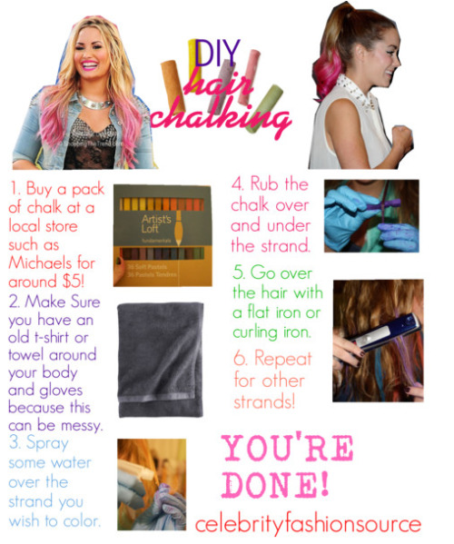 celebrityfashionsource:  DIY Hair Chalking…this only lasts for one day!xo -Sarah
