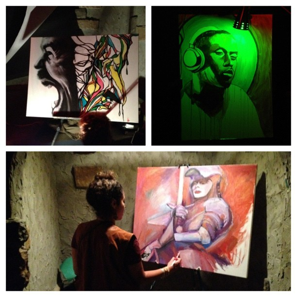 Last night Live #painting @Sullivanroom #Phusion s/o Cynthia Vargas #nyc #Nightlife live #art  #picstitch # (Taken with Instagram at Sullivan Room)