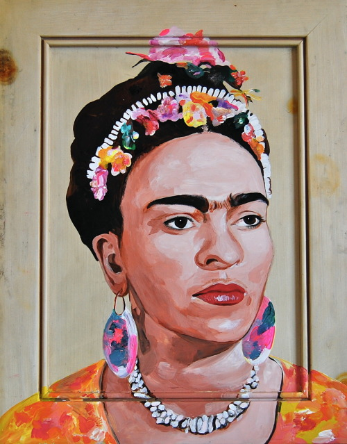 mjthi:  frida by melanie jane acrylic on found panel