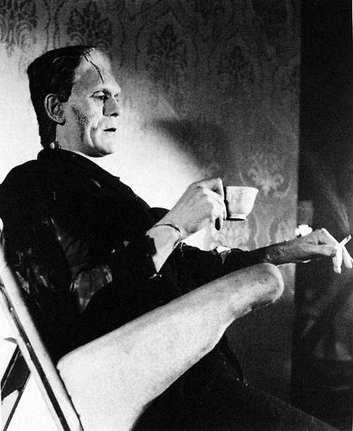 vintagegal:  Boris Karloff on set of Bride of Frankenstein (1935)