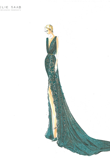 fuckyeahfashioncouture:  Sketch from Elie Saab Huate Couture A/W 2012