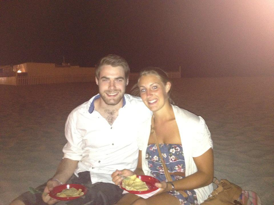 Me and the Sister having a crepe on the beach.