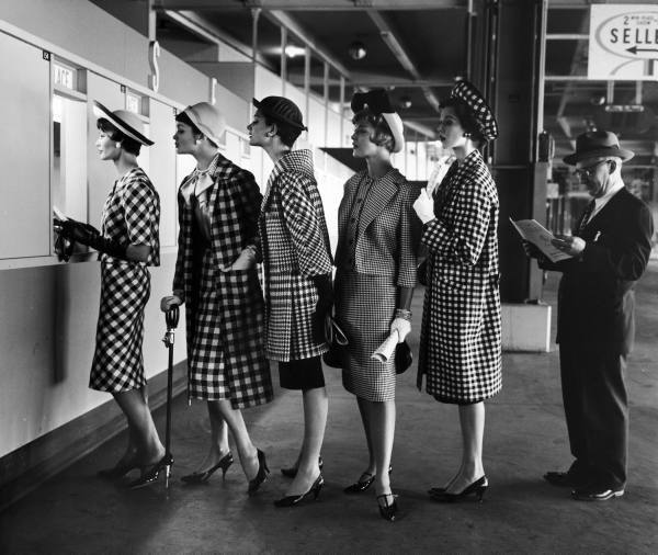 Checked fashion, circa 1958.