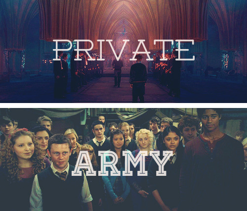 "[the magic begins] dumbledore's army, the order of the phoenix, or the death eaters ☞ dumbledore's army ""We think the reason Umbridge doesn't want us trained in Defense Against the Dark Arts,"" said Hermione, ""is that she's got some… some mad idea that Dumbledore could use the students in the school as a kind of private army."""