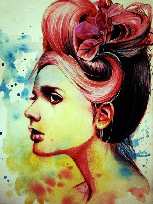 "olganoes:  ""Crimson"" Watercolor, ink & color pencil. http://www.olganoes.com/http://www.facebook.com/olganoeshttp://www.olganoes.tumblr.com/http://www.twitter.com/olganoes8"