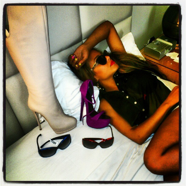 Fell asleep and woke up w #Chanel and #Giuseppe in my bed… @damn #milianheiress #shoegasm #betterthansex #sike #mineisbiggerthanurs #redlipstickdiaries  (Taken with Instagram)