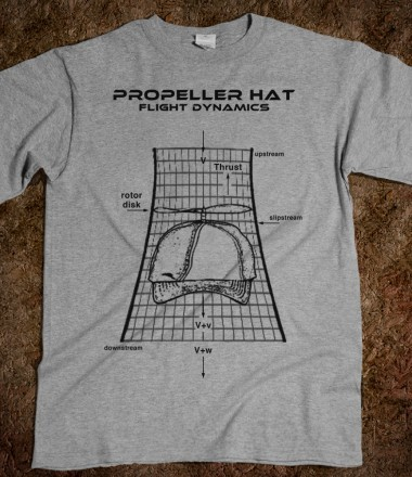 Wow, a Propeller Hat Flight Dynamics T shirt ! These shirts are so hot, they're literally flying off the shelves. Scientists, Geeks, Wildebeests, your Grandma  you name it they love'em. The Propeller Hat T shirt. A cool tribute to Sci-Fi writer Ray Nelson, the inventor of the Propeller Hat. Skreened