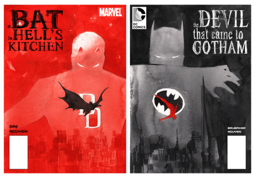 Dustin Nguyen does covers for an imaginary Daredevil/Batman crossover and they're awesome.