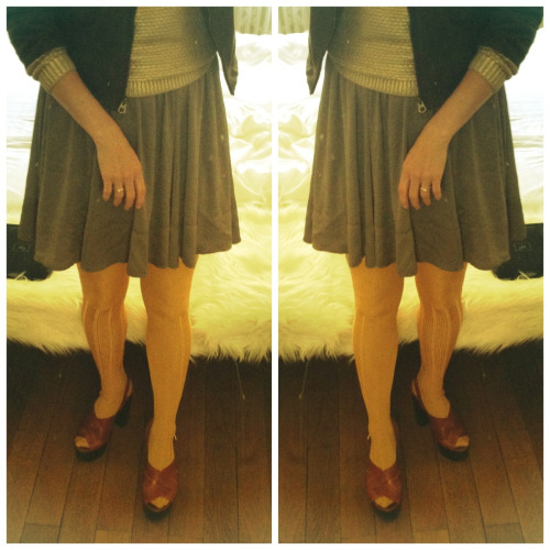 todays outfit   platform sandals overknees skirt sweater suede jacket