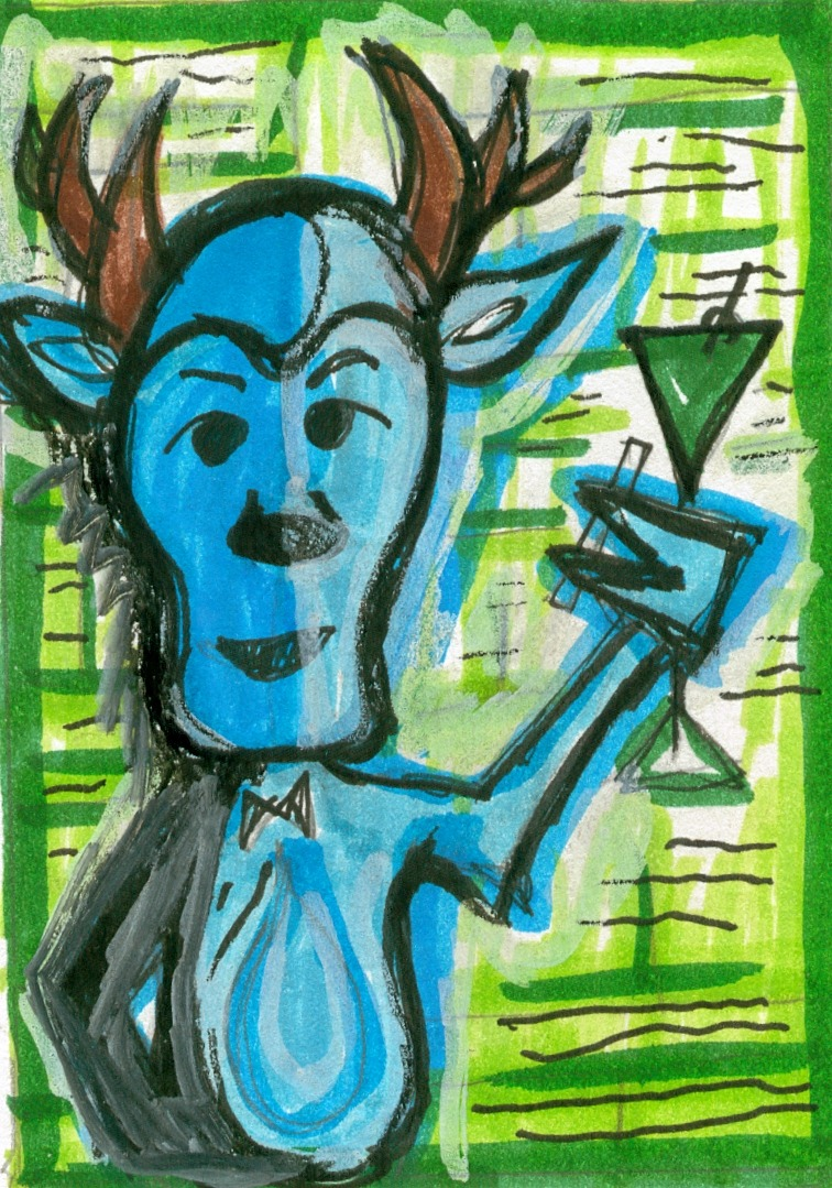 Shag-style ATC.  A drinking, smoking, playboy deer.