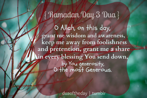 duaoftheday:  O Allah, on this day, grant me wisdom and awareness, keep me away from foolishness and pretention, grant me a share in every blessing You send down, by You generosity, O the most Generous.
