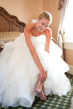 Milly in Vera Wang and Badgley Mischka shoes.
