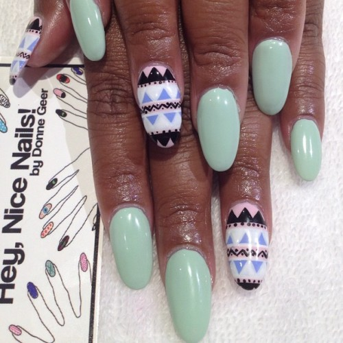 heynicenails:  Boom, close up. Tribal accent nails using CM Nail Art brushes (Taken with Instagram)