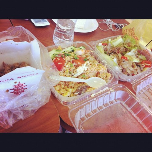 I was in a good mood so I bought Thai food for coworkers. #thaifood #instagrub #garlicchicken #drunkennoodles #friedrice #work #stillhungry (Taken with Instagram)