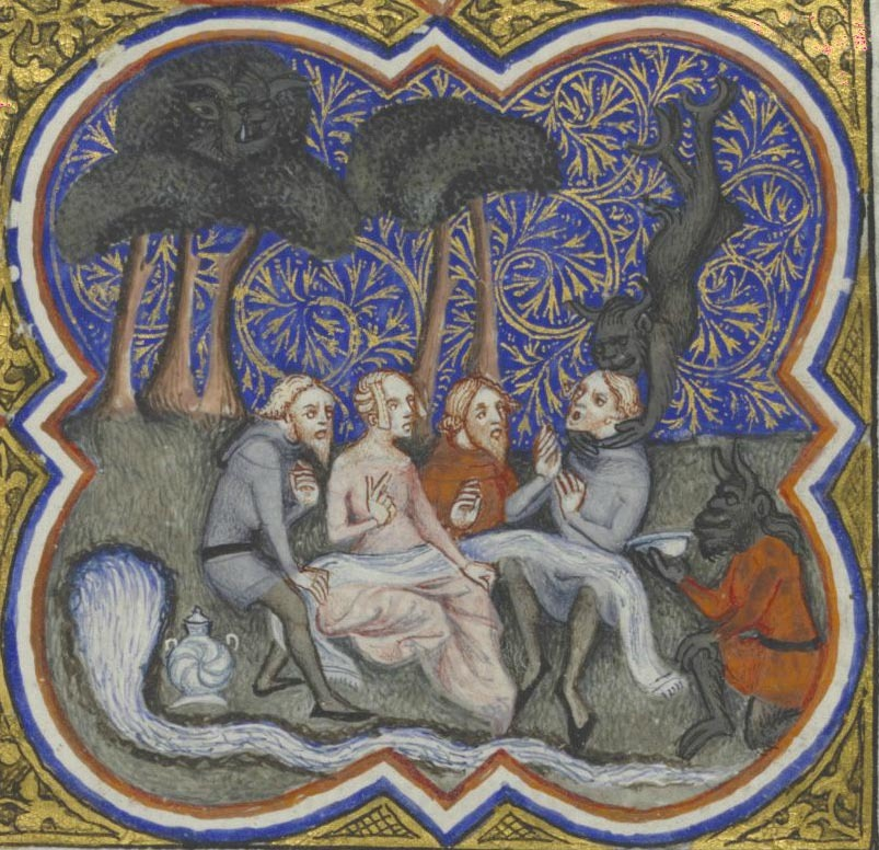 demonagerie:  Brussels, KBR, ms. 9507, detail of p.8 (man taken away by a devil).  Thomas de Cantiprato, Bonum universale de apibus [French version (Le bien universel des mouches à miel) by Henri du Trevou]. Paris, 1372. One minute, you're chatting with friends.  The next minute, a demon has you by the throat.