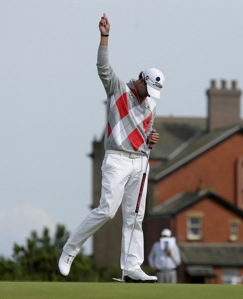 adscott:  Adam Scott celebrates his birdie on the 8th during R3 of the Open 2012 at Royal Lytham & St Annes, Lancashire.